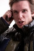 Young Man Upset Calling On Mobile Phone