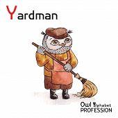 Alphabet professions Owl Letter Y - Yardman Vector Watercolor.