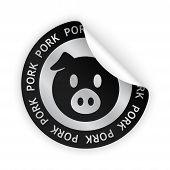 Vector Pork Meat Bent Sticker