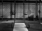 foto of health center  - Gym nobody with barbells kettlebells bars and weightlifting gear - JPG