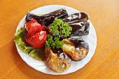 Grilled Vegetables On White Plate