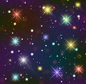 Starry Sky. Dark Background With Glowing Effects