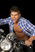 Man Blue Shirt Motorcycle Black Scream Close
