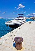 Yacht On Mooring Bollard Dock