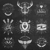Vintage Hand Drawn Design Elements. Retro, Hipster Style. Arrows, Labels, Ribbons On Chalkboard