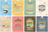 Set Of Beautiful Vintage Seaside View Poster. Vector background. With Typography