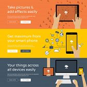 Set of colorful flat design banners and illustrations for online product or business promotion - ideal concept for technology startups, services using modern devices, smartphones, tablets