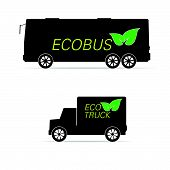 Eco Bus And Truck Vector Illustration