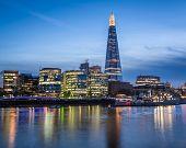 Thames River Embankment And London Skyline At Sunset, United Kingdom