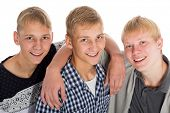 Three friends - two twin brothers and their best friend the same age.