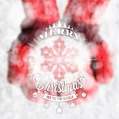 Typographical Vintage Christmas Background With Snowflake