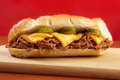 Pulled pork baguette sandwich