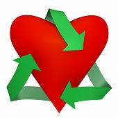 A heart with recycle symbol - 3d image