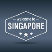 Welcome To Singapore Hexagonal White Vintage Label