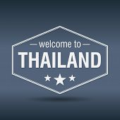 Welcome To Thailand Hexagonal White Vintage Label