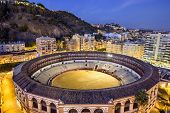 MALAGA, SPAIN - NOVEMBER 2, 2014: La Malagueta Bullring at the Plaza de Torros. The bullring dates from 1874.