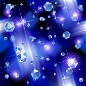 Falling diamond background under blue light