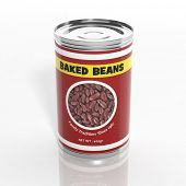 3D baked beans metallic can isolated on white
