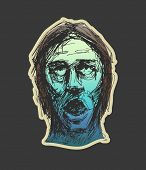 Zombie face. Hand drawn. Vector illustration eps8