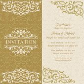 Baroque invitation, gold and beige