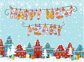 Happy new year knitted letters.Cartoon city landscape