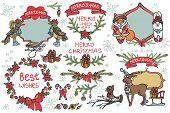 Christmas graphic decor elements,animals set
