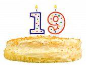 Birthday Cake Number Nineteen Isolated On White