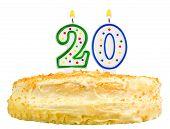 Birthday Cake Number Twenty Isolated On White