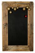 stock photo of wooden pallet  - Chalkboard christmas restaurant menu board reclaimed pallet wooden frame and hanging xmas balls isolated on white with copy space - JPG
