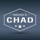 Welcome To Chad Hexagonal White Vintage Label