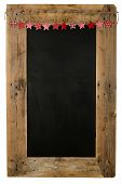Chalkboard Christmas Restaurant Menu Board Reclaimed Wood Small Red Pillow Stars
