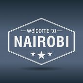 Welcome To Nairobi Hexagonal White Vintage Label