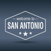 Welcome To San Antonio Hexagonal White Vintage Label