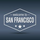 Welcome To San Francisco Hexagonal White Vintage Label