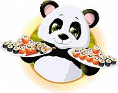 image of panda  - Panda sushibeautiful Panda holding in his paws a tray of sushi - JPG