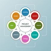 Project management business plan with circle shape
