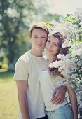 Spring Tender Portrait Lovely Young Couple In Love