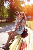 Summer Portrait Modern Urban Cool Hipster Couple In The City, Street Fashion