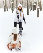 Little Girl Having Fun On A Sleigh With Her Mother