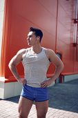 Handsome Sporty Man Posing In The City, Workout, Fitness, Sport - Concept
