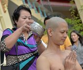 Thai Male In Buddhism Ordination Ritual
