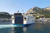 Caremar (campania Regionale Marittima) Ferry Naiade From Naples Arriving At The Island Of Capri, Ita