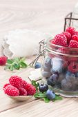 glass bowl of fresh  berries