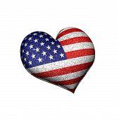 Usa Grunge Heat Shaped Flag 3D