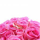 Set Of Wedding Rings In Pink Rose Taken Closeup