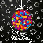 Merry Christmas handwritten swirl lettering greeting card on black paper with snowflakes, and christ