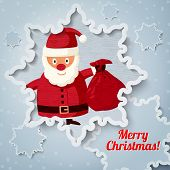 Merry Christmas greeting card with place for your text. Santa Claus and sack of presents. Vector.