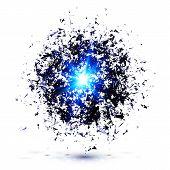 Blue techno style vector explosion