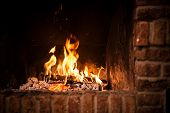image of bonfire  - Fire in fireplace - JPG
