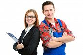 Apprentices for handyman and office isolated on white background
